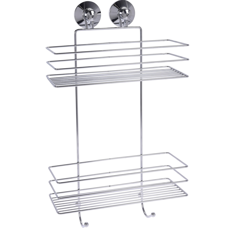 1x zilver doucherekjes/doucherekjes 2 laags met zuignappen 25 x 46 cm