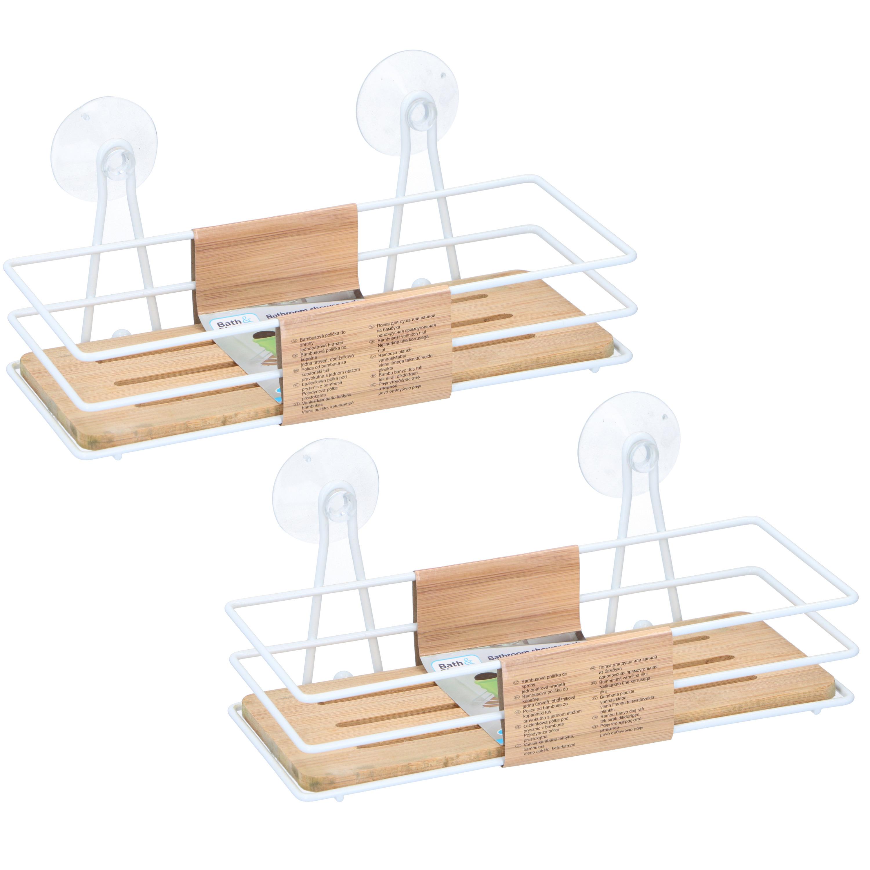 2x stuks doucherekje metaal bamboe met zuignap 26 cm