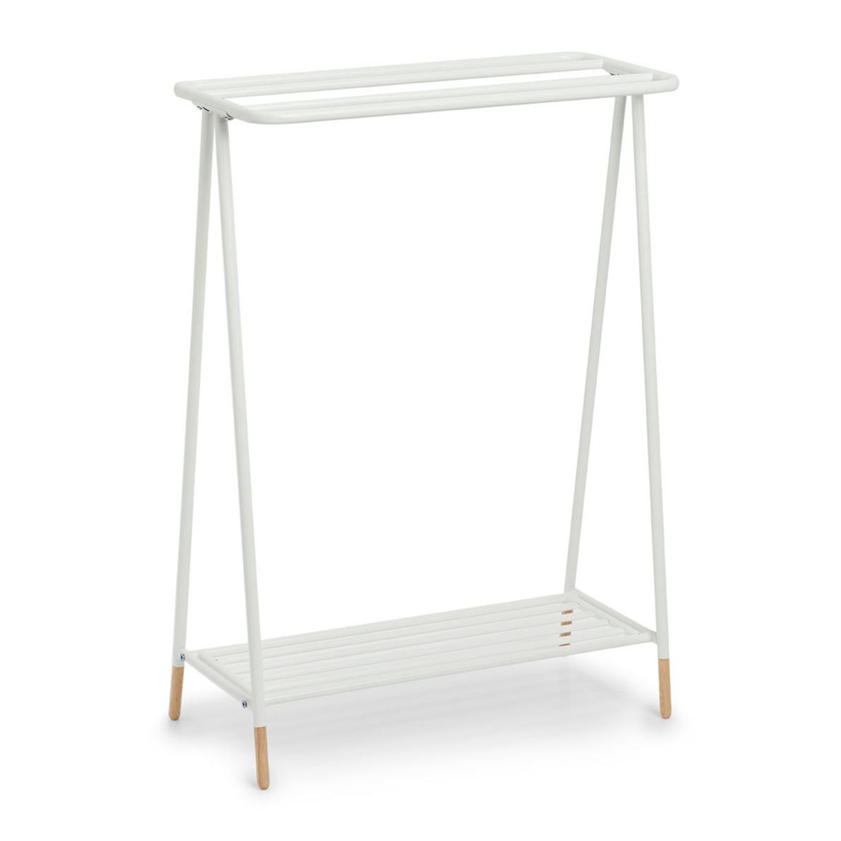 Luxe handdoek badkamer rek wit metaal hout 60 x 30 x 85 cm